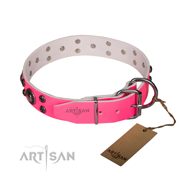 Daily use full grain genuine leather collar with strong buckle and D-ring