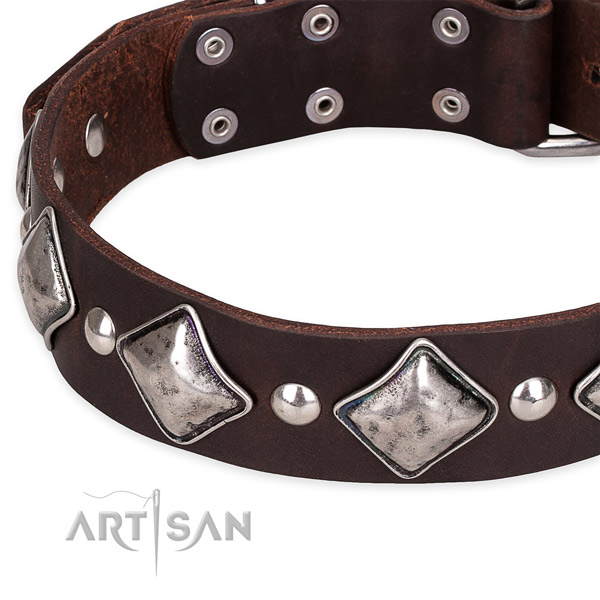 Easy to put on/off leather dog collar with almost unbreakable non-rusting buckle
