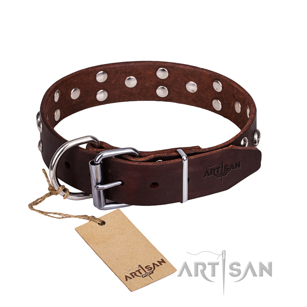 Leather dog collar with smooth edges for comfy everyday outing