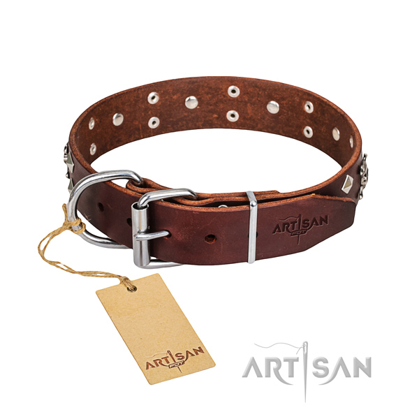 Hardwearing leather dog collar with corrosion-resistant hardware