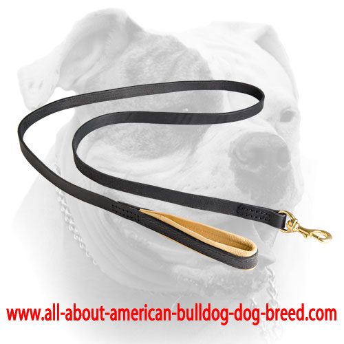 Nappa padded comfy handle for leather American Bulldog leash