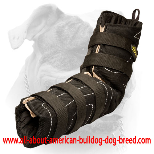 Ambidextrous American Bulldog hidden bite sleeve with velcro closure