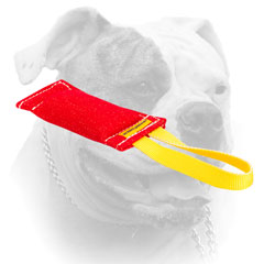 Securely stitched American Bulldog pocket toy of French Linen