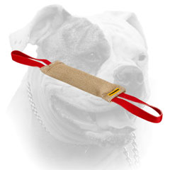 Durably stitched jute bite tug for American Bulldog