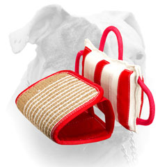 Jute bite pillow with replacable cover for American Bulldog training